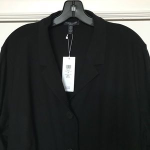 Eileen Fisher long black knit jacket
